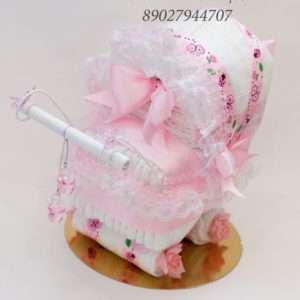 Колясочка из подгузников для девочки