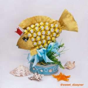 """Золотая рыбка из конфет """"Три желания"""""""